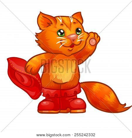 Puss in boots. Children illustration. Isolated illustrashion on white background. poster