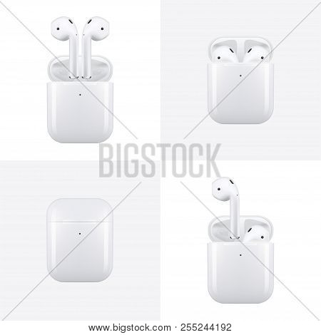 New York, Usa - August 22, 2018: Stock Vector Illustration Realistic New Airpods Wireless Earphones