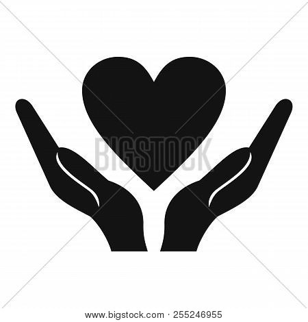 Hands Holding Heart Icon. Simple Illustration Of Hands Holding Heart Icon For Web Design