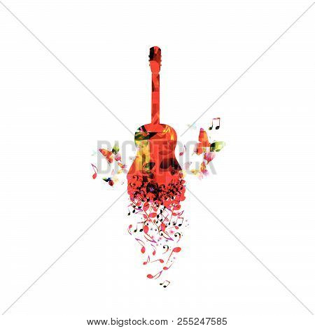 Music Colorful Background With Music Notes And Guitar Vector Illustration Design. Artistic Music Fes