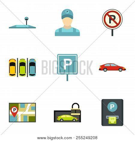 Valet Parking Icons Set. Flat Illustration Of 9 Valet Parking Icons For Web