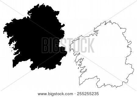 Galicia (kingdom Of Spain, Autonomous Community) Map Vector Illustration, Scribble Sketch Galicia (s