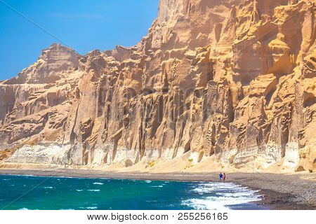 Beautiful Beach With Volcanic Mountains. Vlychada Beach, Santorini Island, Greece