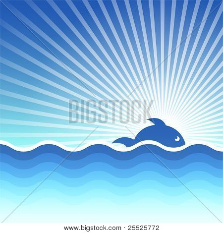 Vector background for design on sea subjects