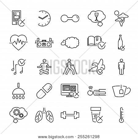Healthy Or Problematic Sleep Vector Illustration Icon Collection Set. Isolated Black Outline Pictogr