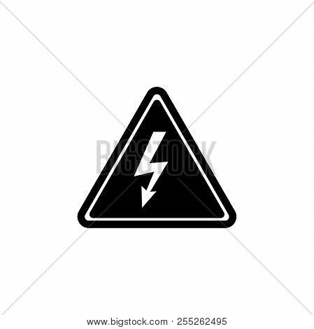 High Voltage Attention, Electric Danger. Flat Vector Icon Illustration. Simple Black Symbol On White