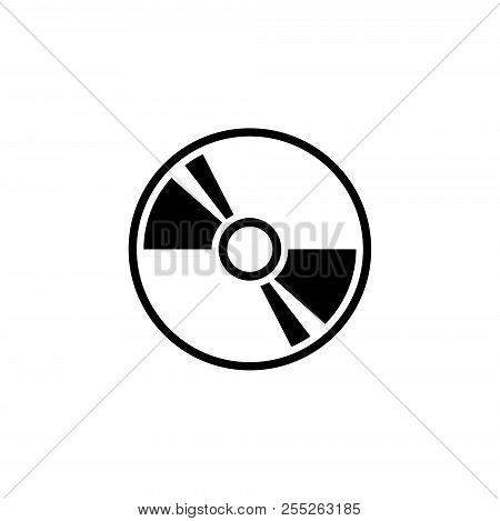 Compact Disc, Dvd Or Cd Storage. Flat Vector Icon Illustration. Simple Black Symbol On White Backgro