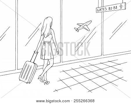 Airport Interior Graphic Black White Sketch Illustration Vector. Woman Is Walking With A Suitcase