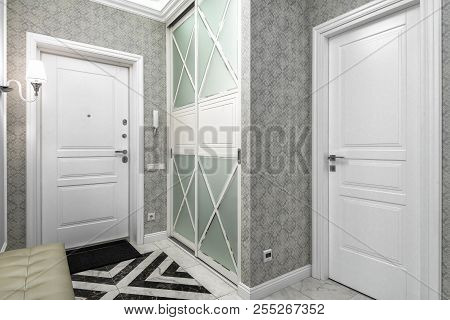 Moscow - June 5, 2018: Modern Interior Of Residential Apartment. Hallway With Patterned Wallpaper An