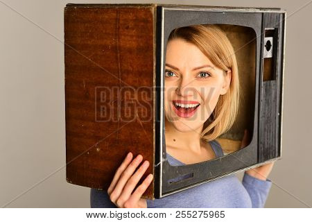 Retro Tv. Retro Tv With Happy Woman. Smiling Woman With Retro Tv On Head. Retro Tv Set. Movie