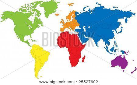 Color mapa del mundo con las fronteras de los países