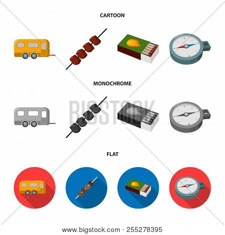 Trailer, Shish Kebab, Matches, Compass. Camping Set Collection Icons In Cartoon, Flat, Monochrome St