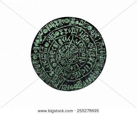 Greece Crete Phaistos ancient disk replica isolated over white poster
