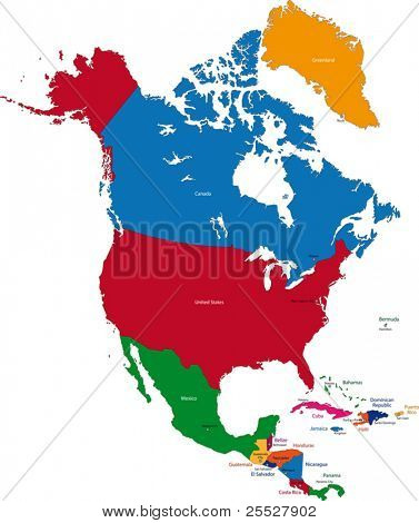 Colorful North America map with countries and capital cities