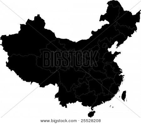Black China map with division borders