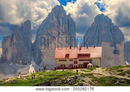Rifugio Locatelli, Dolomites, Italy, July 19 2014 -  The Rifugio Locatelli And  The Tre Cime Di Lava