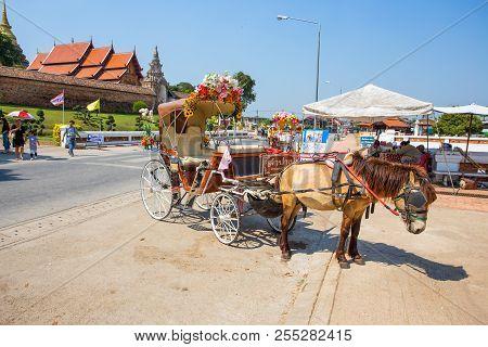 Lampang, Thailand February 21, 2017 - Horse Carriage Outside Wat Phra That Lampang Luang Temple, Lam