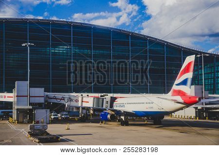 London, Uk - August 10th, 2018: View Of Heathrow Airport And British Airways Airplane At Their Stand