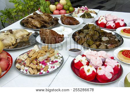 Set Of Favourite Food For Chinese Ghost And Spirit Festival Savory Food, Fruits And Sweet For Ancest