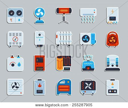Hvac sticker icons set. Flat sign kit of climatic equipment. Fan pictogram collection includes blower heating, ionizer, humidifier. Simple hvac symbol. Icon for patch, badge, pin. Vector Illustration poster