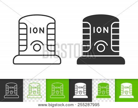 Ionizer black linear and silhouette icons. Thin line sign of ionizator. Ozonator outline pictogram isolated on white, color, transparent background. Vector Icon shape. Ionizer simple symbol closeup poster