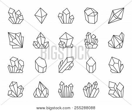 Jewel Quartz Crystal Thin Line Icon Set. Outline Sign Of Treasure Gem. Mineral Linear Icons Includes