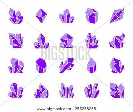 Crystal Silhouette Icons Set. Isolated Sign Kit Of Gem. Mineral Pictogram Collection Includes Amethy