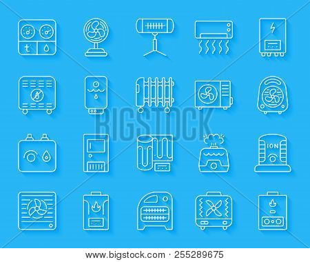 Hvac Paper Cut Art Line Icons Set. Sign Kit Of Climatic Equipment. Fan Linear Pictogram Collection I