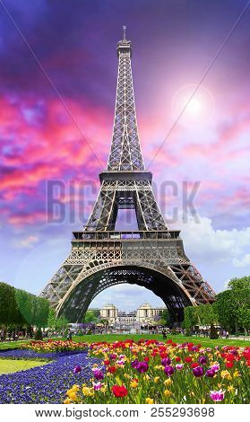 View Of Paris, Tour Eiffel  On Sunset