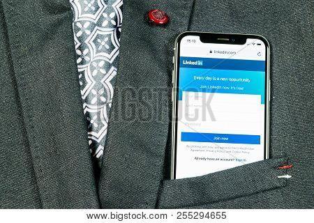 Sankt-petersburg, Russia, August 24, 2018: Linkedin Homepage On Apple Iphone X Screen Close-up In Ja