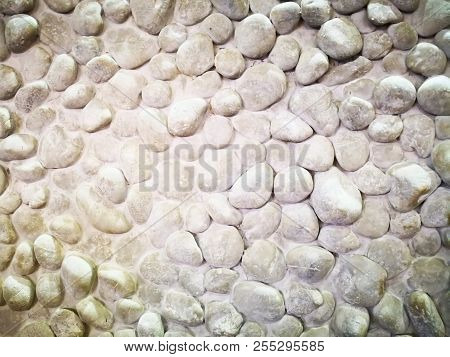 Home Decoration Concept And Abstract Background Made With Many Small White Rock. Closeup View Of Roc