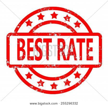 Best Rate Red Rubber Stamp On White Background. Best Rate Stamp Sign.  Text Best Rate Stamp.
