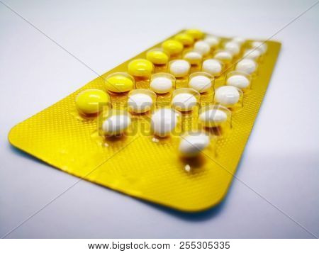 Medication And Healthcare Concept. Oral Contraceptive Drug. 21 White Pills Consist Of Ethinyl Estrad