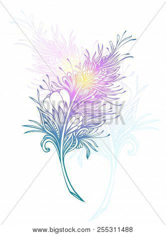 Decorative  Feather In Zen Doodle Or Zen Tangle Boho Style Colorful For Tattoo Or Decoration T Shirt