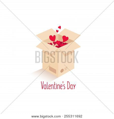 Box With Love. Vector Love Box. Surprise Box. Isometric Box