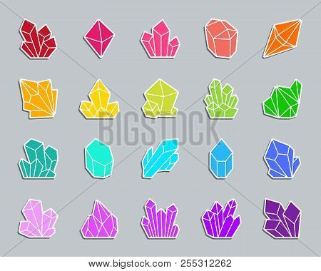 Crystal Silhouette Sticker Icons Set. Sign Kit Of Gem. Mineral Pictogram Collection Includes Quartz,