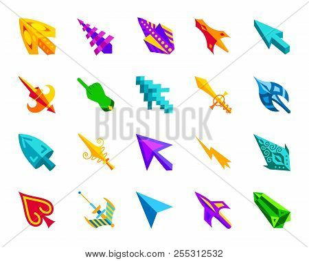 Mouse Cursor Flat Icons Set. Sign Kit Of Arrow. Click Pictogram Collection Includes Pointer, Lightni