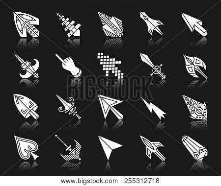 Mouse Cursor Silhouette Icons Set. Isolated Sign Kit Of Arrow. Click Pictogram Collection Includes P