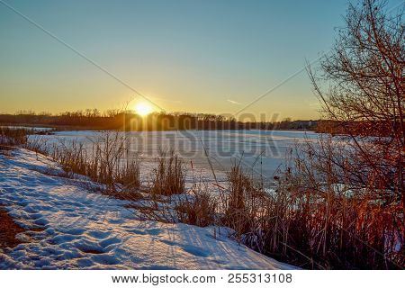 Beautiful Winter Sunset At Purgatory Creek Park In Minnesota