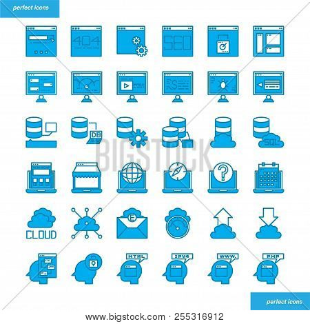 Browser And Interface Color Line Icons Perfect Pixel. Use For Website, Template,package, Platform. C
