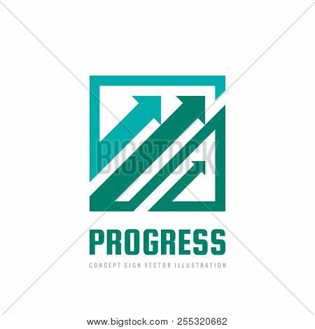 Progress - Concept Business Logo Template Vector Illustration. Abstract Arrows System Creative Sign.