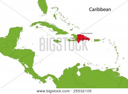 Location of Dominican Republic on the Caribbean