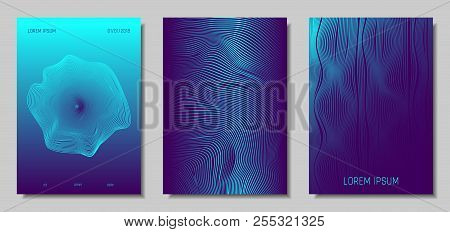 Blue Abstract Covers With Movement Effect. Wave Striped Backgrounds. Geometric Templates Set With Fl