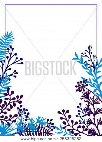 Herbal Twigs And Branches Border Frame Vector Invitation Card. Rustic Vintage Bouquets With Fern Fro