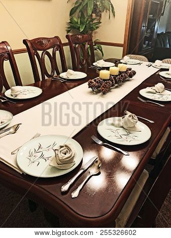 Dining Room Table With Place Settings Of Antique Ballerina Mist Dishes And A Folded Napkin That Look