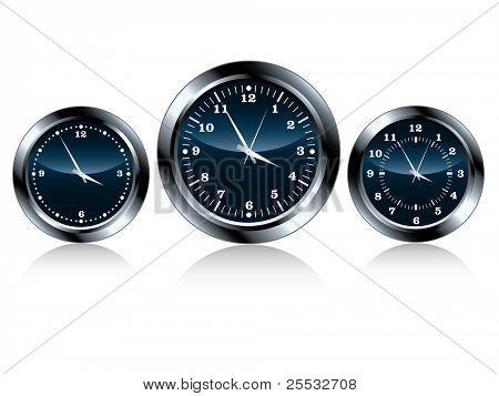 Vector of chrome wall clock