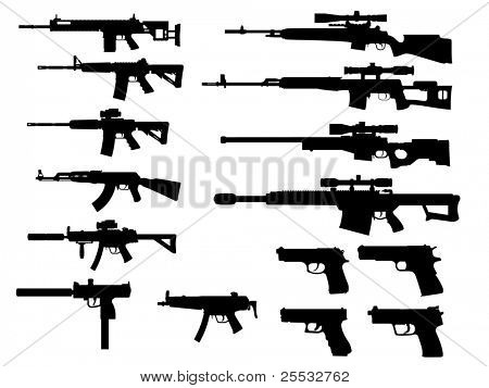 modern weapon collection vector poster