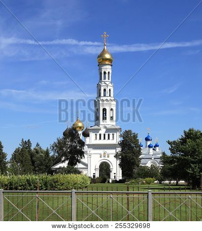 Belltower, Trinity Church And The Assumption Church In The Village Of Zavidovo, Moscow Region. Russi