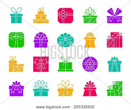 Gift boxes silhouette icons set. Isolated web sign kit of bounty box. Present monochrome pictogram collection includes parcel, pack stack. Simple gift color contour symbol. Vector Icon shape for stamp poster