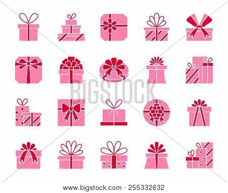 Gift boxes silhouette icons set. Isolated on white web sign kit of bounty box. Present pictogram collection includes surprise, package, prize. Simple gift contour symbol. Vector Icon shape for stamp poster